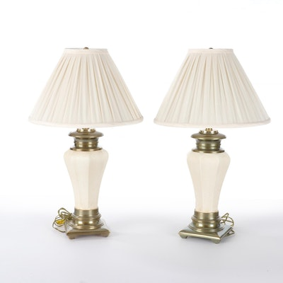 Pair of Frogskin Glazed Ceramic and Patinated Metal-Mounted Table Lamps
