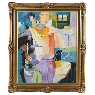 Fauvist Style Oil Painting Portrait of Woman with Flute