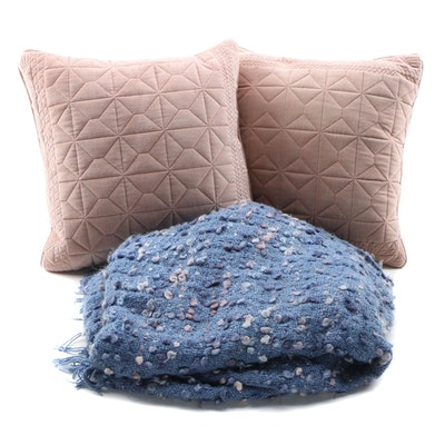 Blush Throw Pillows by LoLoi with Textured Throw Blanket