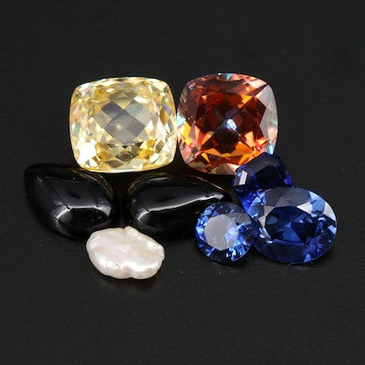 Loose 49.55 CTW Gemstone Selection Including Sapphire, Black Onyx and Pearl