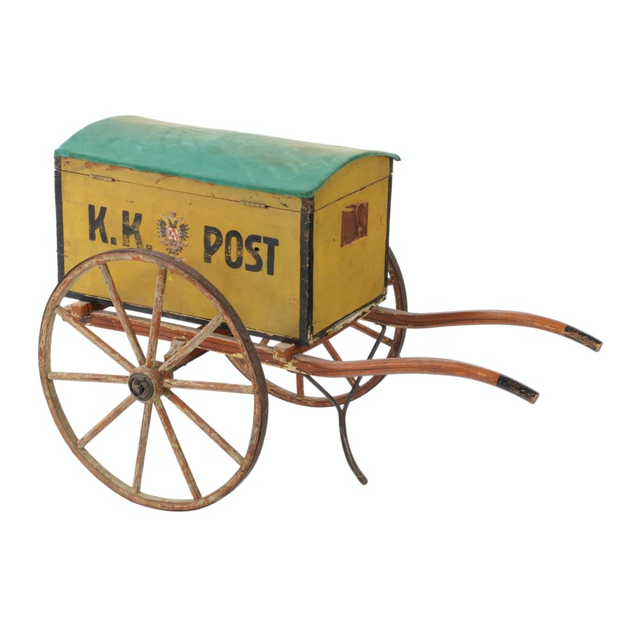 Antique Painted German Post Cart