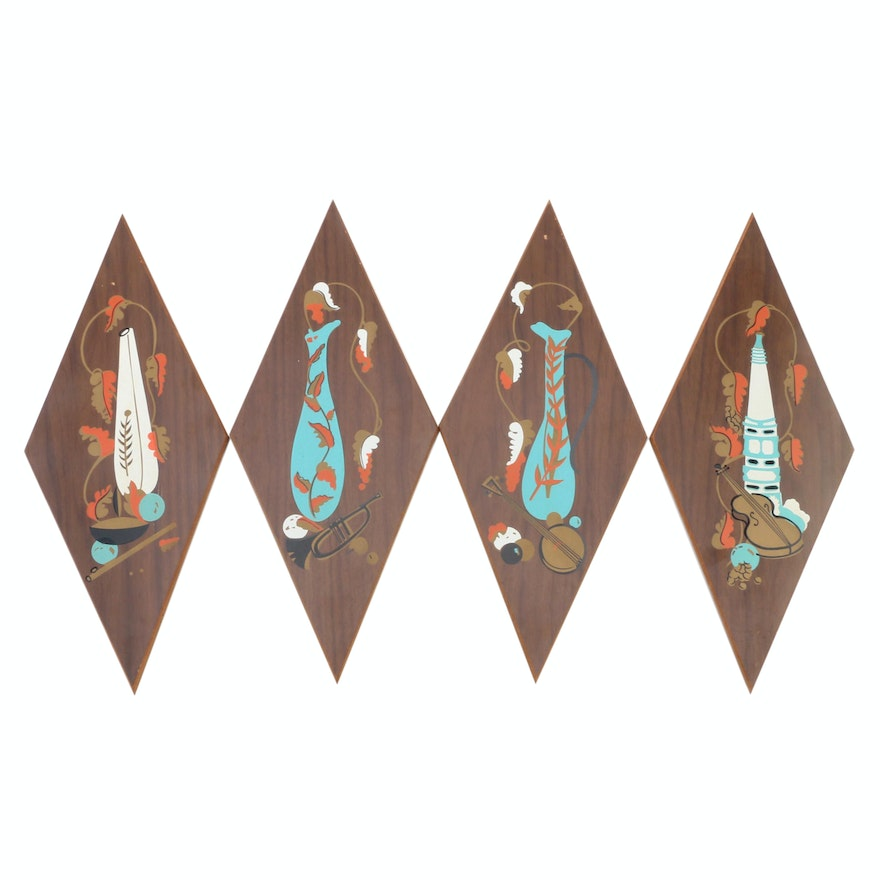 Mid Century Modern Hand-Painted Wooden Plaques