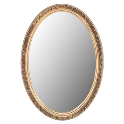 Gilt Oval Wall Mirror, Mid-20th Century