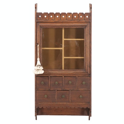 Late Victorian Oak Wall Cabinet, Late 19th Century