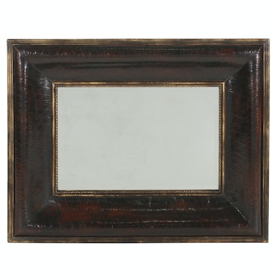 Three Hands Wall Mirror with Distressed Frame, 21st Century
