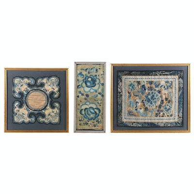 East Asian Embroidered Blue Flowers Silk Panels
