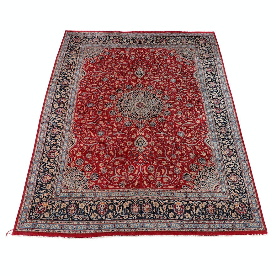 9'7 x 13'6 Hand-Knotted Persian Isfahan Wool Rug