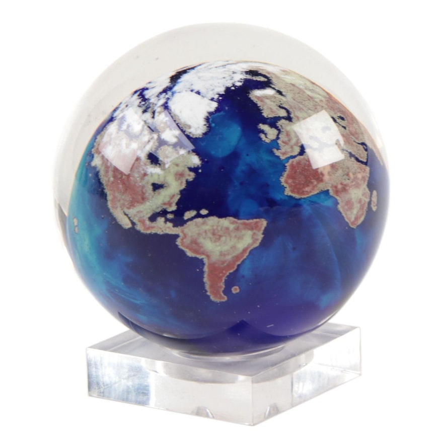 Lundberg Studios Glass Earth Paperweight with Stand