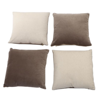 Four Creative Co-op Grey Cotton and Velvet Accent Pillows