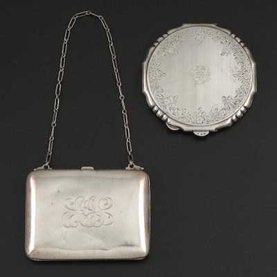 Austrian 900 Silver Compact with American Sterling Silver Wristlet