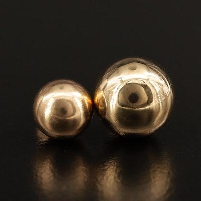 14K Single Stud Sphere Earrings
