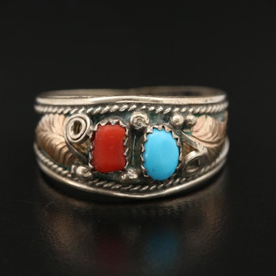 Western Sterling Silver Turquoise and Coral Ring with Applique