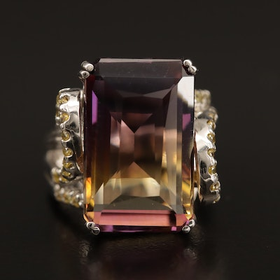 Sterling Ametrine and Cubic Zirconia Ring with Swirl Motif