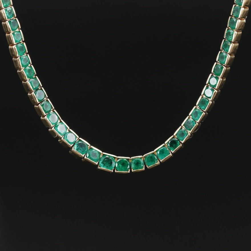 18K Graduated Emerald Rivière Necklace