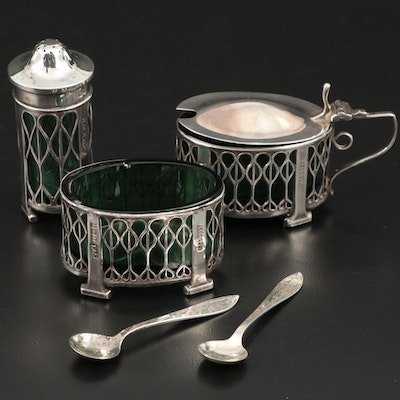 Levi & Salaman of Birmingham, England Sterling Silver Seasoning Set, 1910