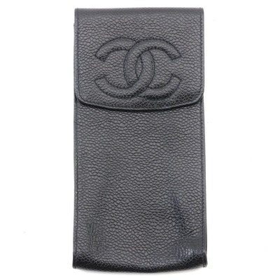Chanel Pebble Leather Spectacle Pouch in Black