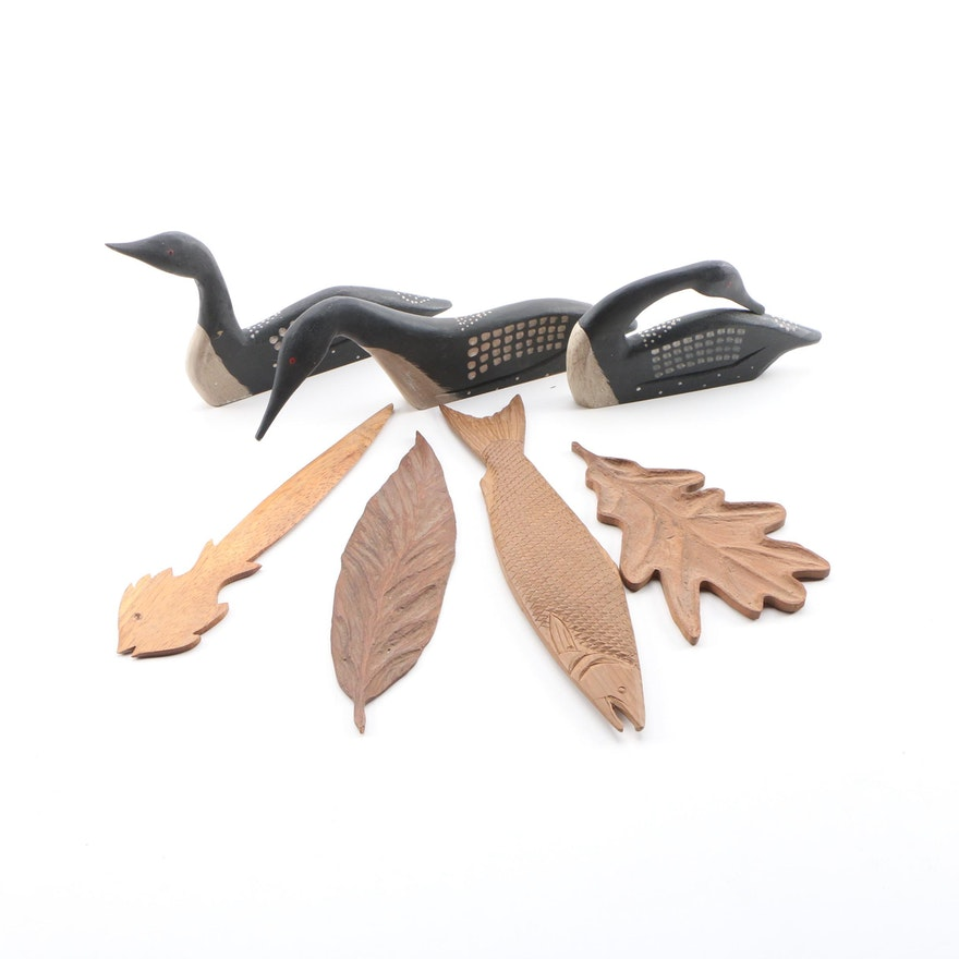 Antique Carved Wood Leaves and Fish with The Boyds Collection Wooden Decoy Loons