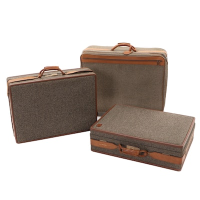 Hartmann Tweed and Leather Suitcases, Mid to Late 20th Century