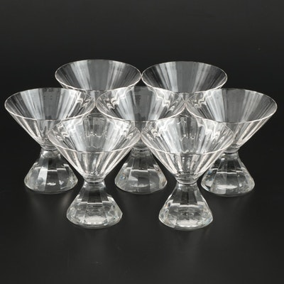 Fluted Crystal Martini Glasses with Faceted Stems