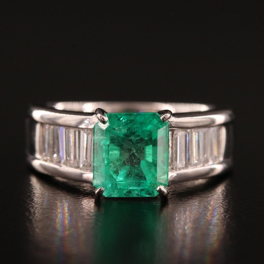 Platinum 1.92 CT Emerald and Diamond Ring