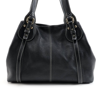 Purla Black Leather Shoulder Bag with White Stitched Trim