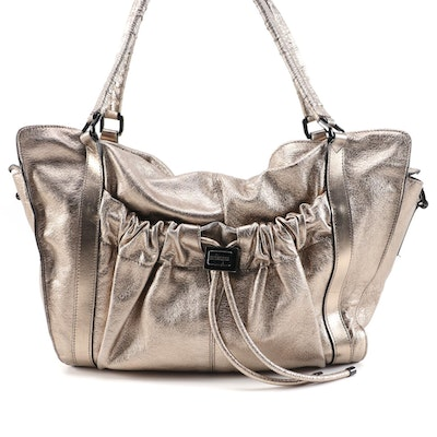 Burberry Farrar Large Drawstring Satchel in Metallic Gold Leather