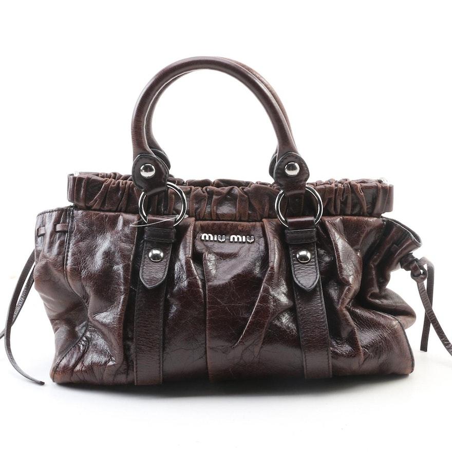 Miu Miu Brown Leather Two-Way Tote Bag