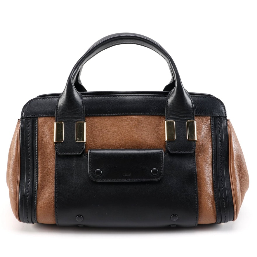 Chloé Alice Small Satchel in Colorblock Brown and Black Leather