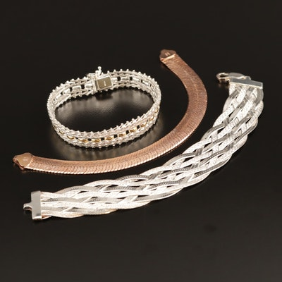 Milor Sterling Bracelet Selection Featuring Braided and Fancy Link Designs