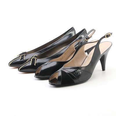 Bruno Magli Leather and Snakeskin Slingbacks and Bally Bow Leather Pumps