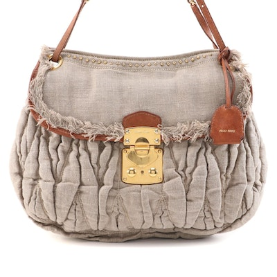 Miu Miu Studded Chain Shoulder Bag in Gathered Canapa Canvas with Leather Trim