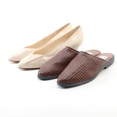 Bruno Magli Leather and Snakeskin Pumps with AJ Valenci Brown Leather Slides