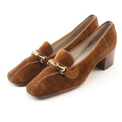 Gucci Cognac Velour Suede Loafers