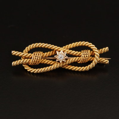 Victorian 10K Love Knot Brooch with Diamond Accent