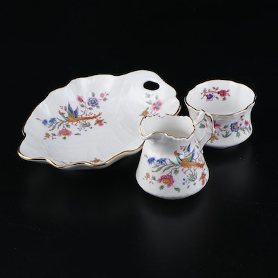 "Hammersley ""Bird of Paradise"" Bone China Creamer, Sugar, and Dish"