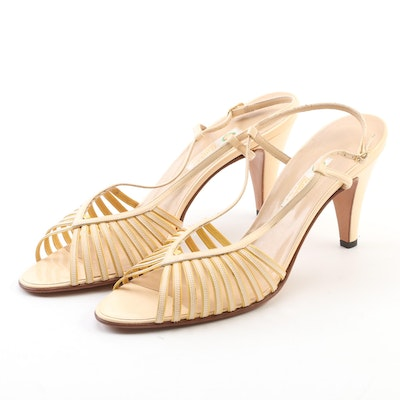 Gucci Beige and Yellow Leather Peep Toe Sandals