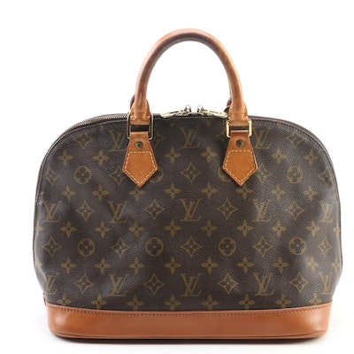 Refurbished Louis Vuitton Alma Handbag in Monogram Canvas and Vachetta Leather