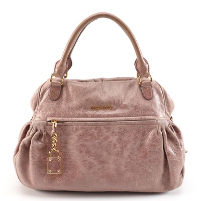 Miu Miu Charm Satchel Bag in Blush Beige Nappa Leather