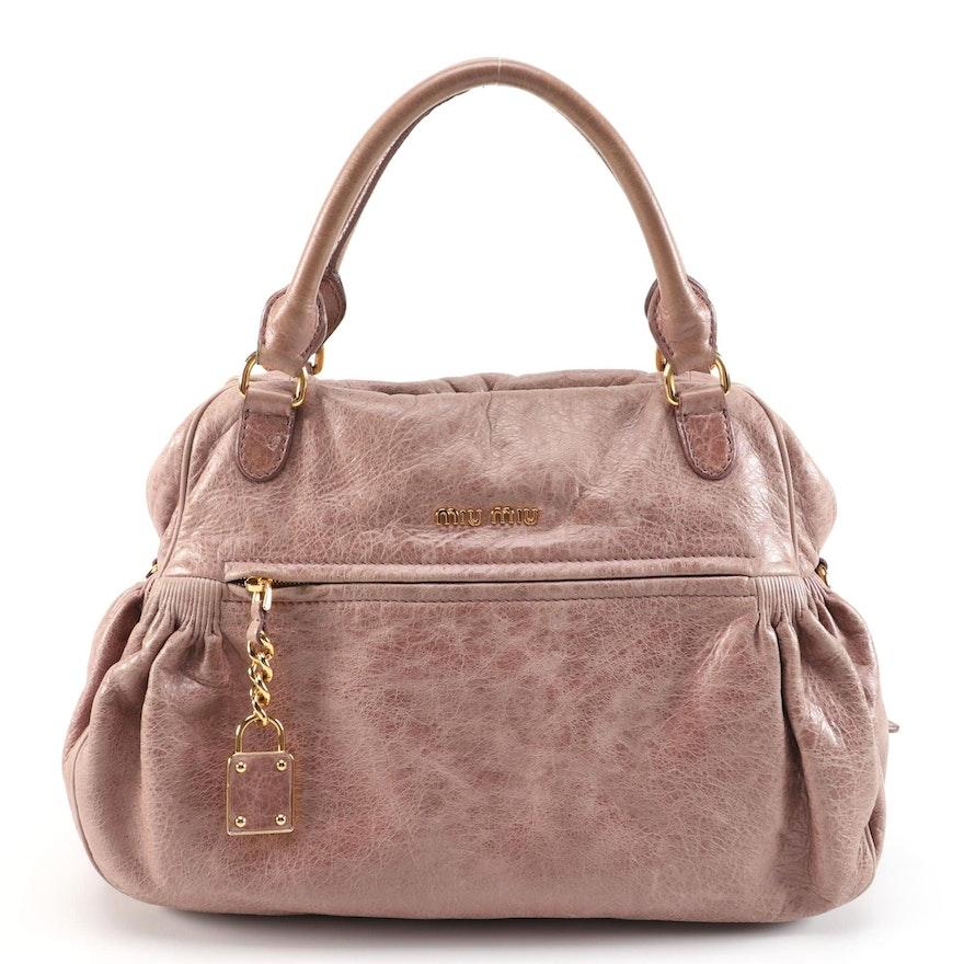 Miu Miu Charm Satchel Bag in Blush Beige Nappa Leather