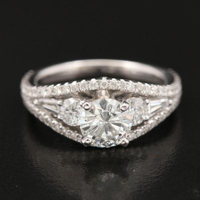 14K 1.56 CTW Diamond Tapered Ring with GIA Report