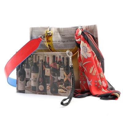 Recycled Newspaper Two-Way Tote Bag and Wristlet with Twilly Scarf