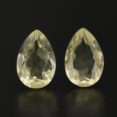 Matched Pair of Loose 6.01 CTW Pear Faceted Citrines