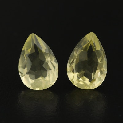 Matched Pair of Loose 5.75 CTW Pear Faceted Citrines