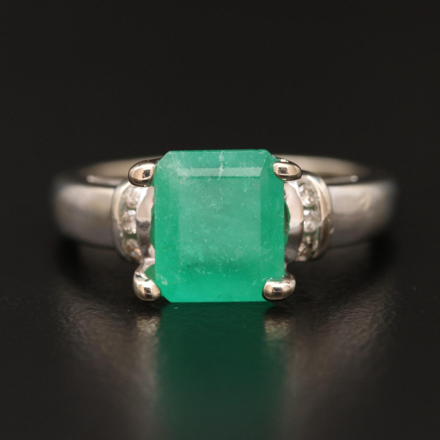 14K 2.14 CT Emerald and Diamond Ring