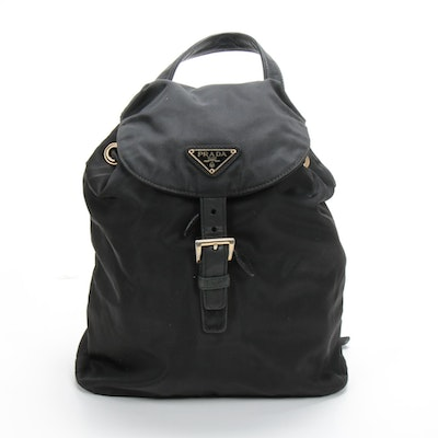 Prada Chain Strap Backpack Purse in Black Tessuto Nylon