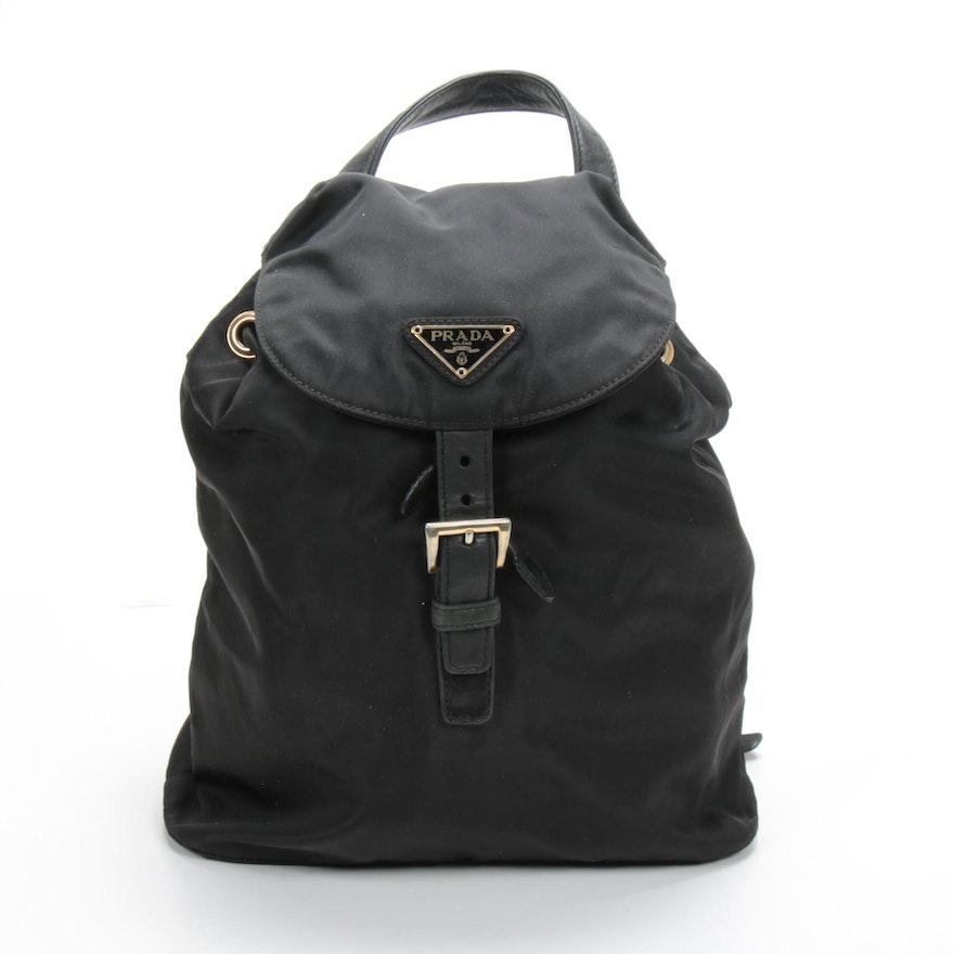 Prada Chain Strap Backpack Purse in Black Tessuto Nylon