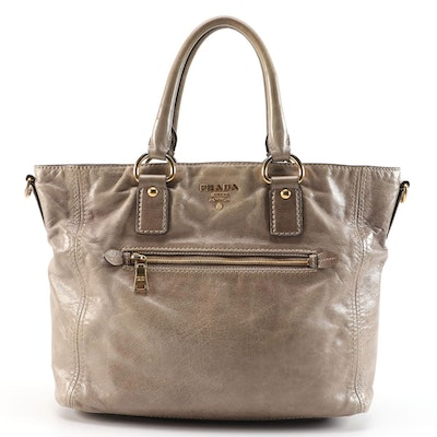 Prada Tote Bag in Light Brown Vitello Shine Leather