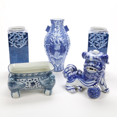 Chinese Blue and White Porcelain Vases and Guardian Lion