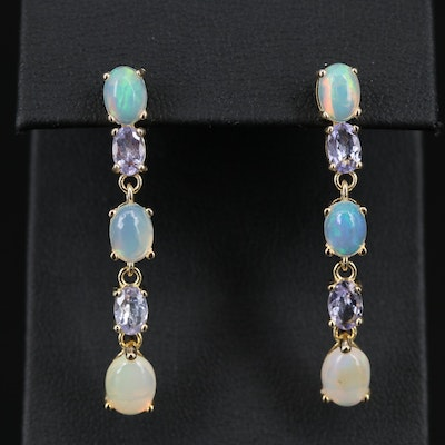 Sterling Silver Opal and Tanzanite Dangle Earrings