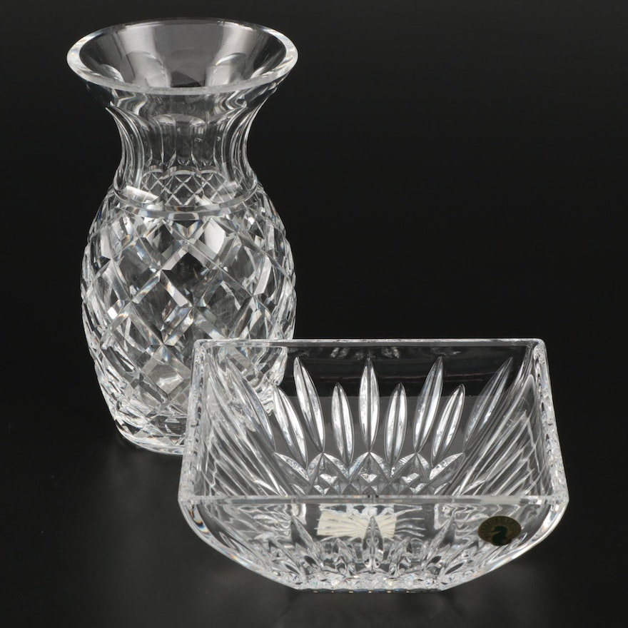 "Waterford Crystal Vase and ""Lismore"" Square Bowl"